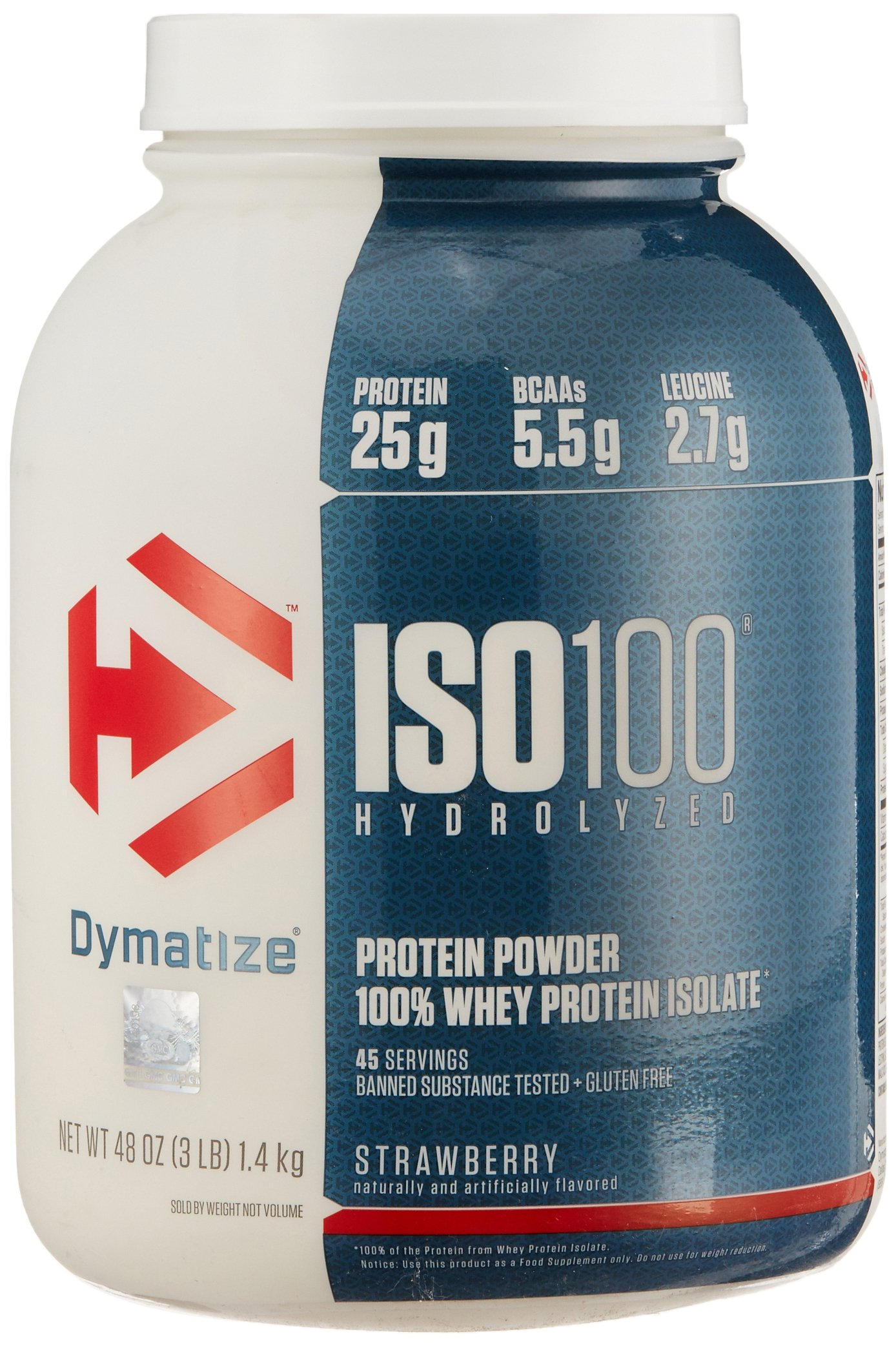 Dymatize ISO 100 Post Workout and Recovery Supplements, Strawberry, 3 Pound (Pack of 6)