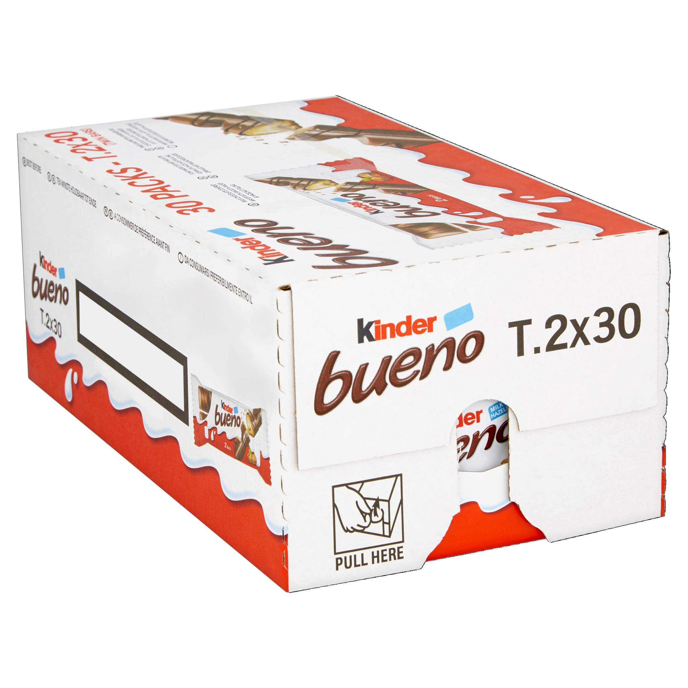 Ferrero Kinder Bueno Wafer Cookies, 1.5 Ounce (43 g) (Pack of 30)
