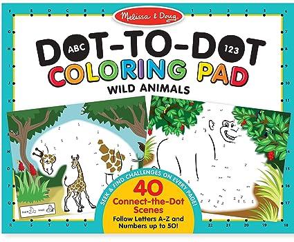 Amazon Com Melissa Doug Abc 123 Wild Animals Dot To Dot Coloring