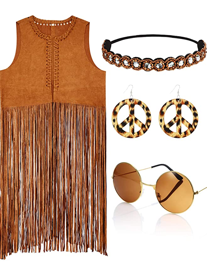 Hippie Dress | Long, Boho, Vintage, 70s 4 Pieces Women Hippie Costume Set Fringe Vest Faux Suede Tassels Vest $29.99 AT vintagedancer.com