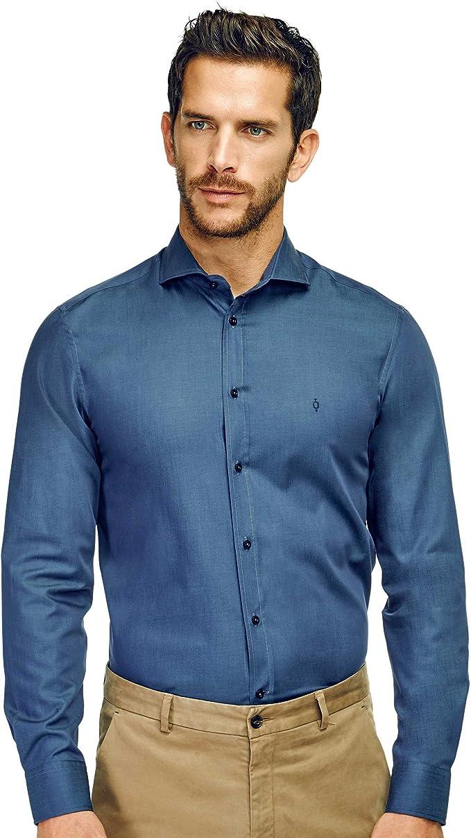 Caramelo, Camisa Slim Cuello Cutaway, Hombre · Azul Tinta, Talla XXL: Amazon.es: Ropa y accesorios