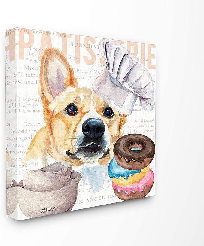 Amazon Com Stupell Industries Corgi Dog Kitchen Bakery Pet Watercolor Painting Canvas Wall Art 17 X 17 Design By Artist Jennifer Redstreake Posters Prints