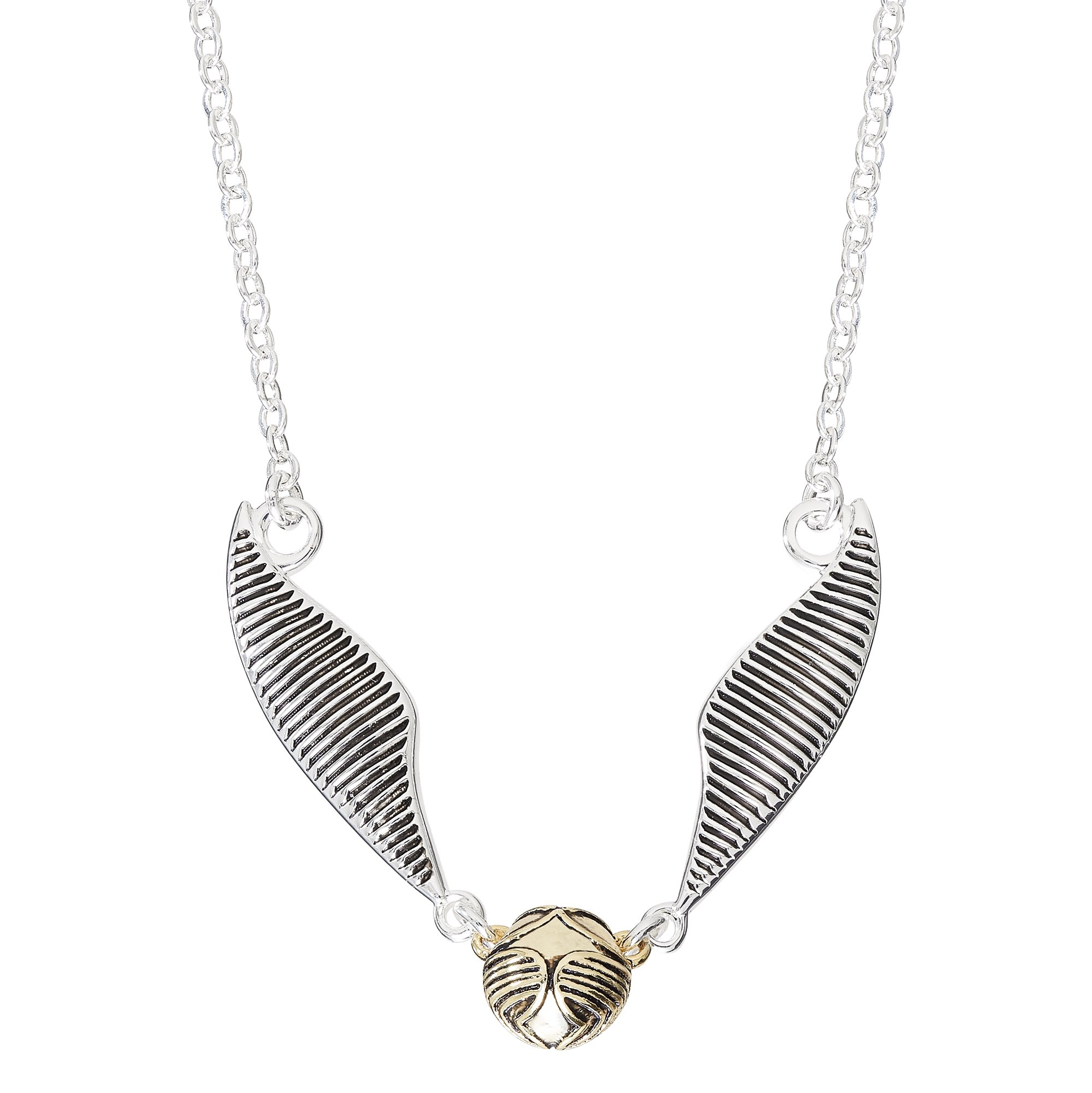 Harry Potter Women's Silver Plate Quidditch Golden Snitch Necklace 18''