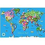 Huge laminated animal world map educational teaching kids poster school teaching educational world map with animals childrens poster a2 a1 a0 sizes gumiabroncs Images