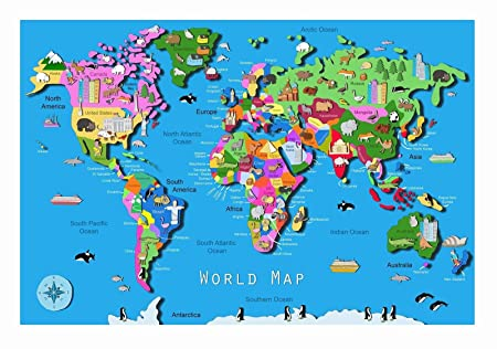 School teaching educational world map with animals childrens poster school teaching educational world map with animals childrens poster a2 a1 a0 sizes gumiabroncs Choice Image