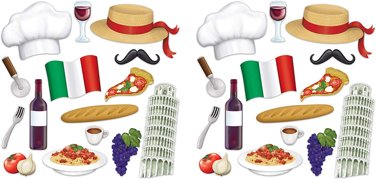 "Beistle Italian Photo Fun Signs, 30 Piece, 7.25""-14.25"", Multicolored"