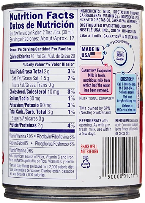Amazon.com : Carnation Evaporated Milk Can - Vitamin D Added - 12 oz : Grocery & Gourmet Food