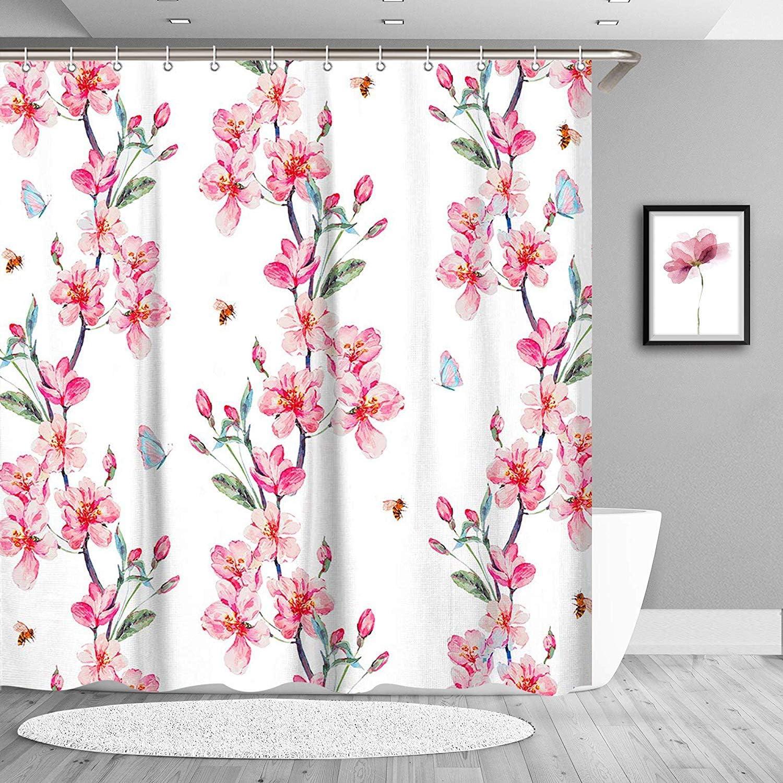 "LIVILAN Cherry Blossom Shower Curtain with Hooks, Pink Flower Bath Curtain Green Leaf Decorative Bathroom Curtain, Machine Washable, 72"" X 72"""