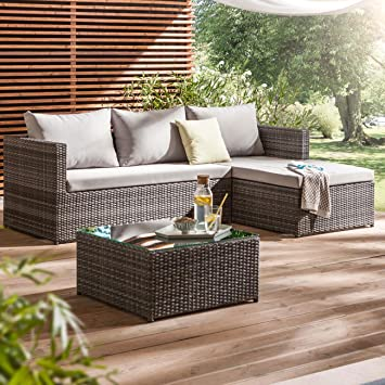 Loungemöbel outdoor günstig grau  Amazon.de: Gartenlounge Polyrattan OUTLIV. Luna Lounge-Set ...