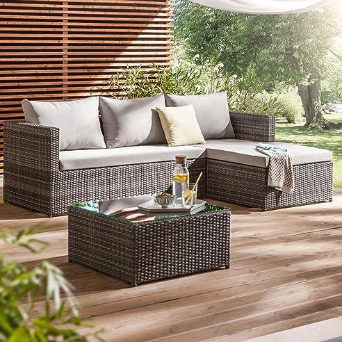 Garten lounge möbel grau  Amazon.de: Gartenlounge Polyrattan OUTLIV. Luna Lounge-Set ...