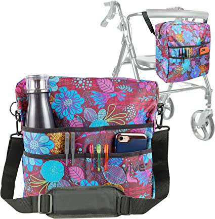 Vive Rollator Bag - Universal Travel Tote for Carrying Accessories on Wheelchair, Rolling Walkers & Transport Chairs - Lightweight Laptop Basket for ...