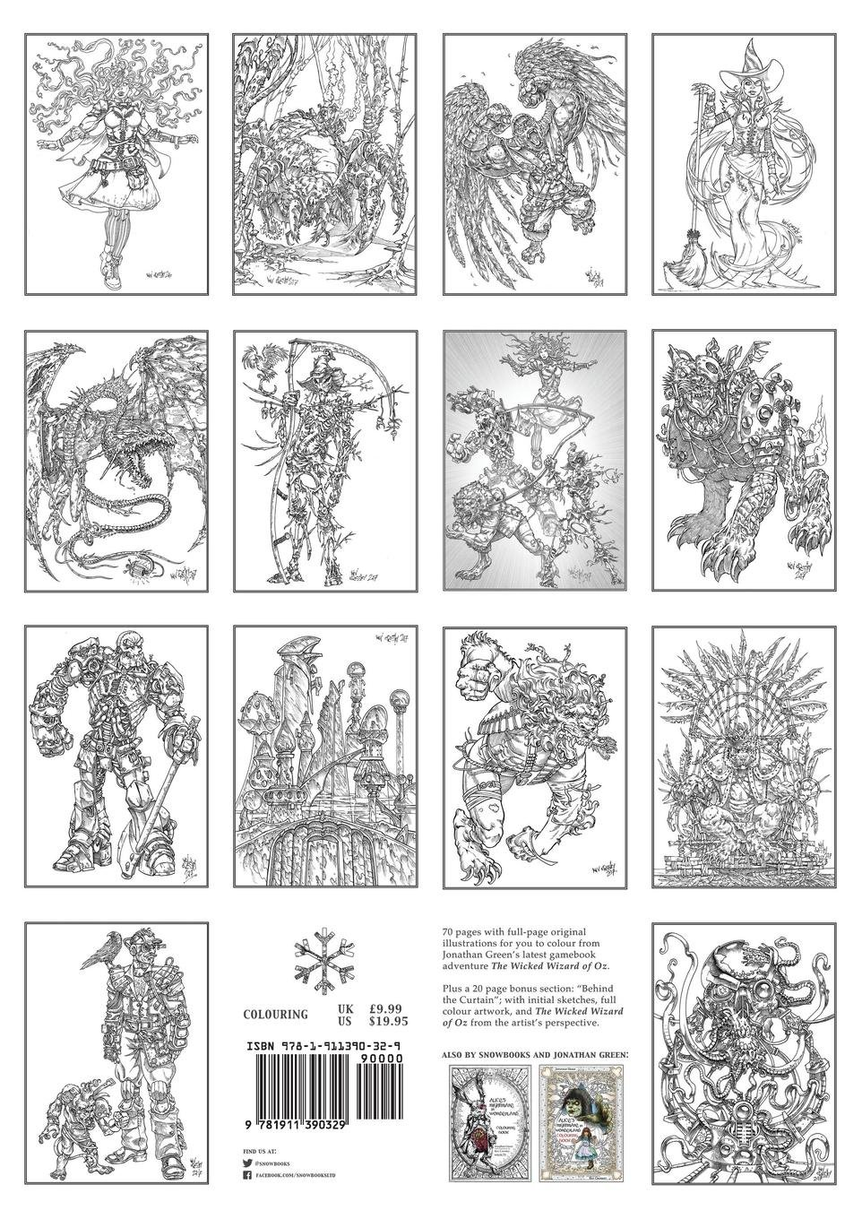 The wicked wizard of oz colouring book jonathan green kev crossley 9781911390329 amazon com books