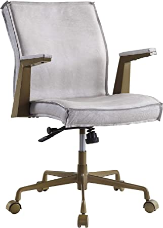 Amazon Com Acme Furniture Attica Executive Office Chair Vintage White Top Grain Leather Furniture Decor