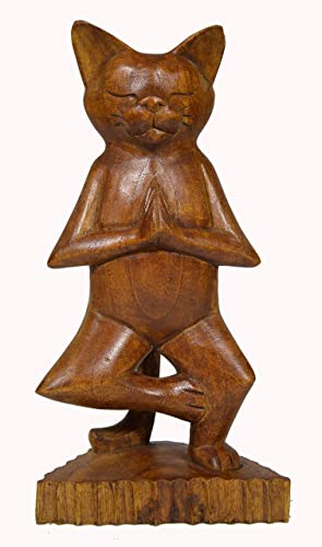Meditating Yoga Kitty Statue Hand Painted Carved Wood Praying Cat Kitten Siamese Tree Position