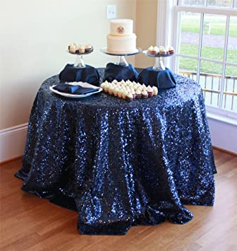 ShinyBeauty Navy Blue Sequin Tablecloth (108u0027u0027Round)