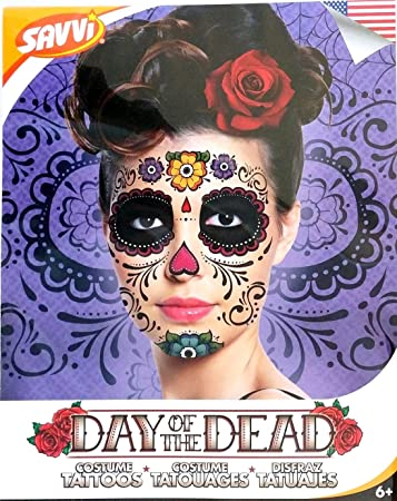 Day Of The Dead  >> Amazon Com Floral Day Of The Dead Sugar Skull Temporary Face