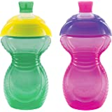 Munchkin Click Lock Bite Proof Sippy Cup, Green/Pink, 9 Ounce, 2 Count