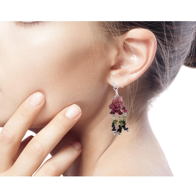 NOVICA Tourmaline Stone and .925 Sterling Silver Artisan Earrings, Rejoice