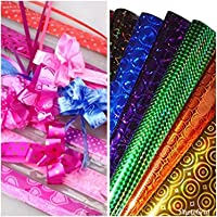 VJTI Plastic gift wrapping paper roll Coloured Holographic Print, Pack of 20, 64 X 45 cm with 20 Ribbon Flowers and 20 Best Wishes Stickers