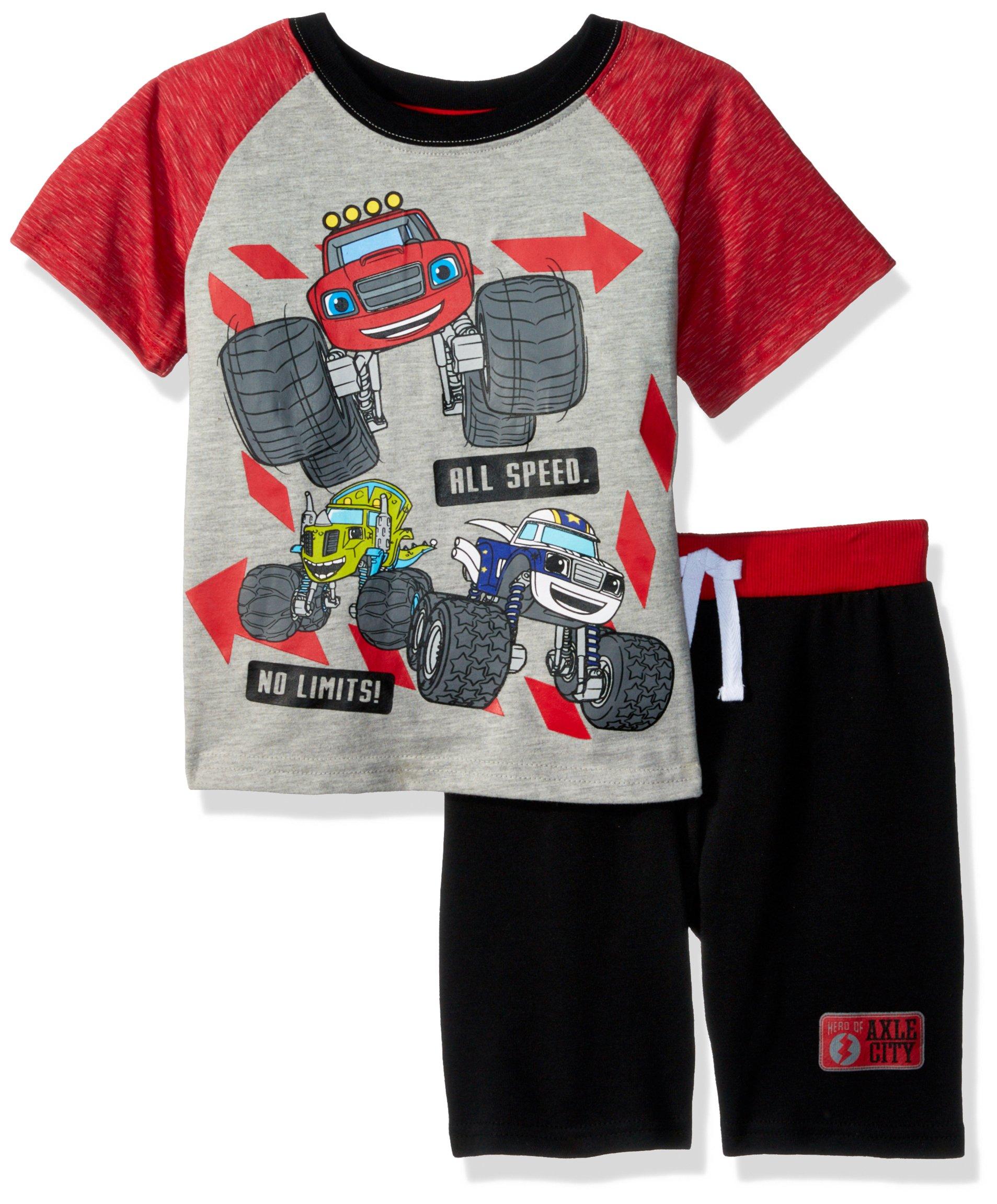 Nickelodeon Toddler Boys' Blaze Crew Neck Short Set, Grey, 4T