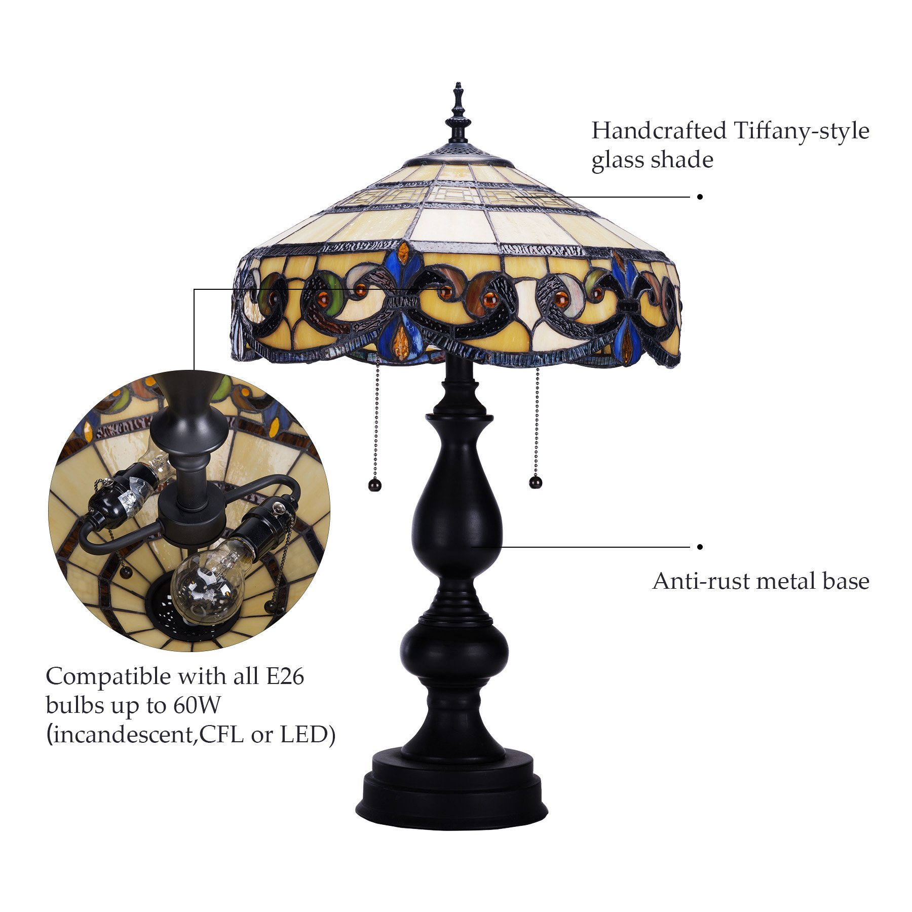 CO-Z Tiffany Style Table Lamps, 2-Light Victorian Desk Lamp with 16 Inches Stained Glass Shade, 25.5 Inches Height by CO-Z (Image #5)