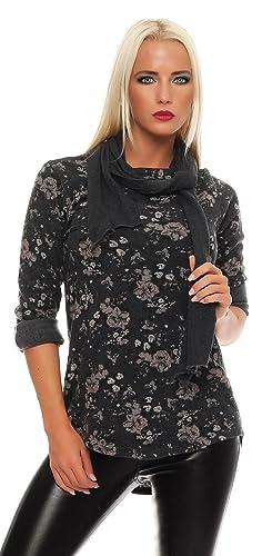 IKONA21 - Camisas - para mujer Grau mit Print Mehrfarbig talla única