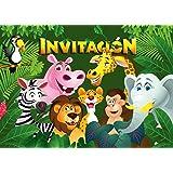 """9194b184915 Edition Colibri 10 Invitaciones en español """"Animales del ZOOLÓGICO"""": Juego  de 10 Invitaciones"""