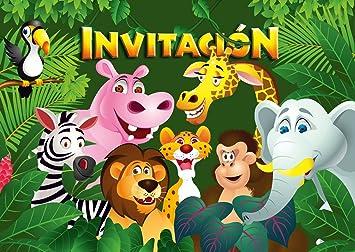 Edition Colibri 10 Invitaciones En Español Animales Del Zoológico Juego De 10 Invitaciones Para El Cumpleaños Infantil En El Zoológico Parque