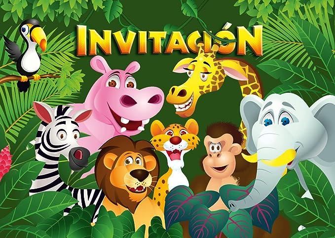 """Edition Colibri 10 Invitaciones en español """"Animales del ZOOLÓGICO"""": Juego de 10 Invitaciones para el cumpleaños Infantil en el zoológico / Parque ..."""