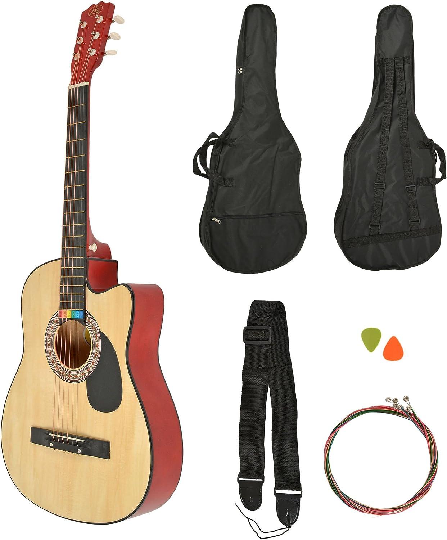 ts-ideen Western - Guitarra acústica, tamaño regular (4/4) con set ...