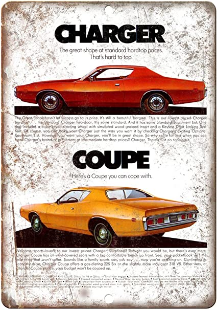 """1971 Dodge Charger Sports Car 10/"""" x 7/"""" Reproduction Metal Sign"""