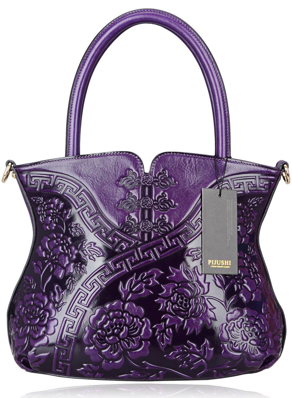 PIJUSHI Designer Flower Handbag Womens Top Handle Shoulder Satchel Bag Holiday Gift ( 22331 Purple)