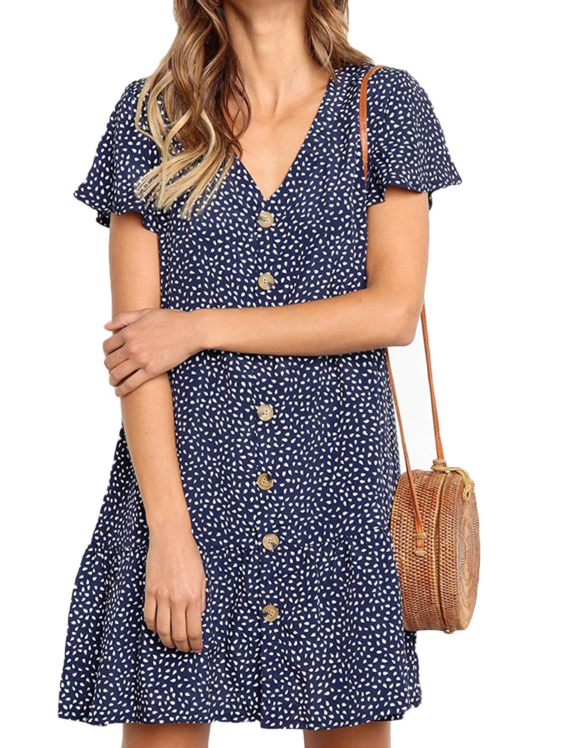 Women's Summer Button Down Polka Dot Dress Casual Ruffle Beach Sundresses Flowy Bohemian V Neck Cute Mini Tshirt Dress Blue