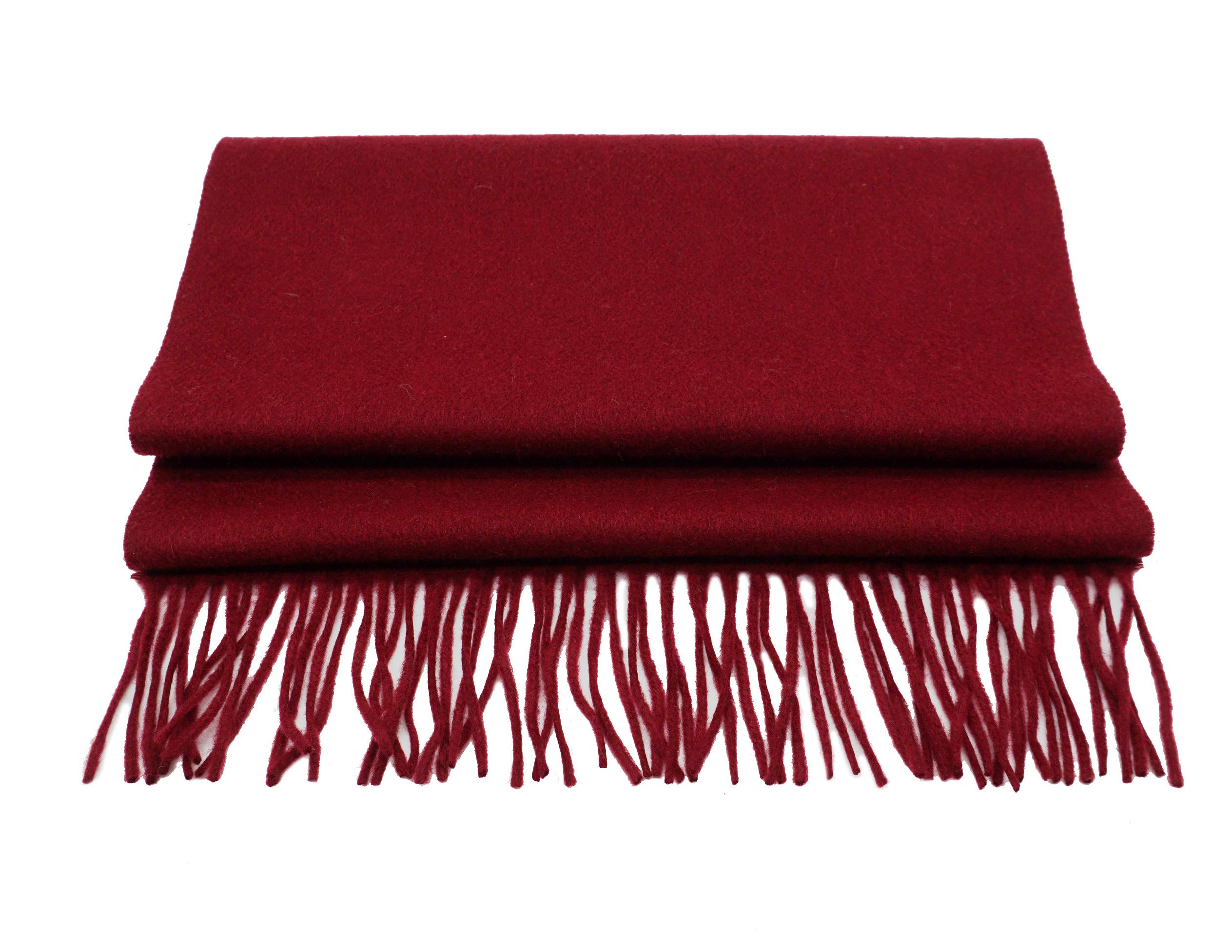State Cashmere Unisex Solid Color Fringe Scarf 100% Pure Cashmere Waterweave Knit (Burgundy) by State Cashmere
