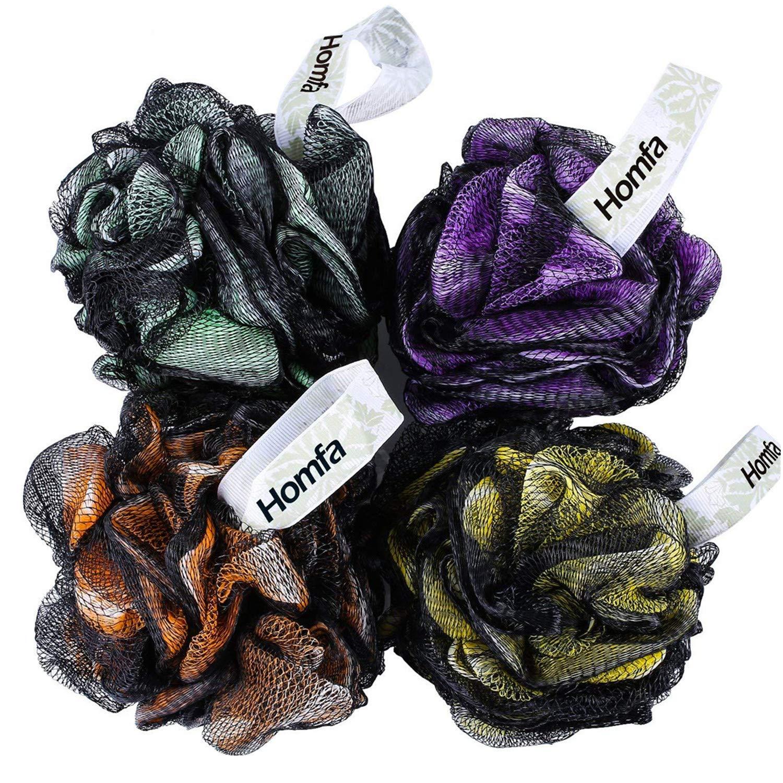 Homfa Esponja de Baño 4 Pack Esponja de Ducha Suave Esponjas de Flor XL Cada 75g HF