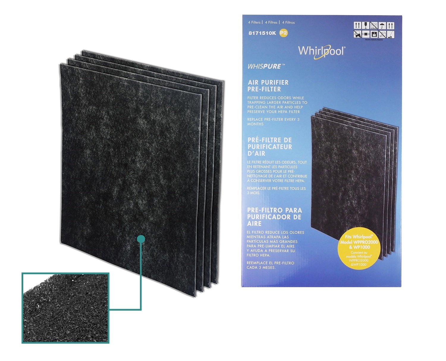 Amazon.com: Whirlpool 8171510K (8171510), 4-Pack (Extra Large), 1-Full Year Supply Charcoal Carbon-Based Pre-Filters, For Air Purifier Model WP1000 and ...
