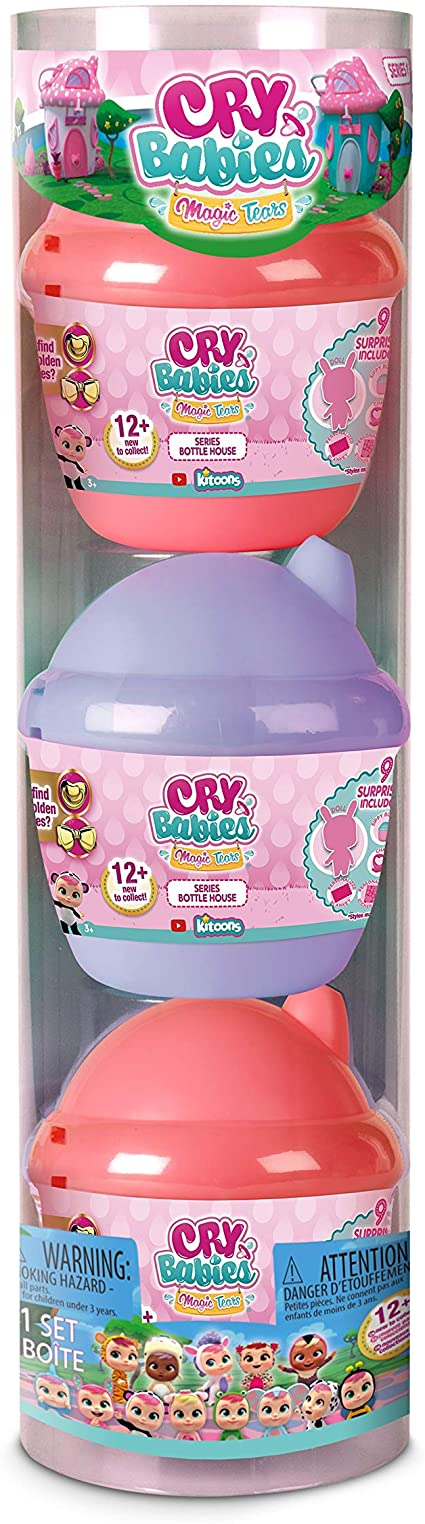 Amazon.com: Cry Babies Magic Tears Bottle House - 3 Pack: Toys & Games