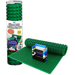 "SCS Direct Brick Building Play Mat - 16"" Rollable, Portable Two Sided Silicone Mat"