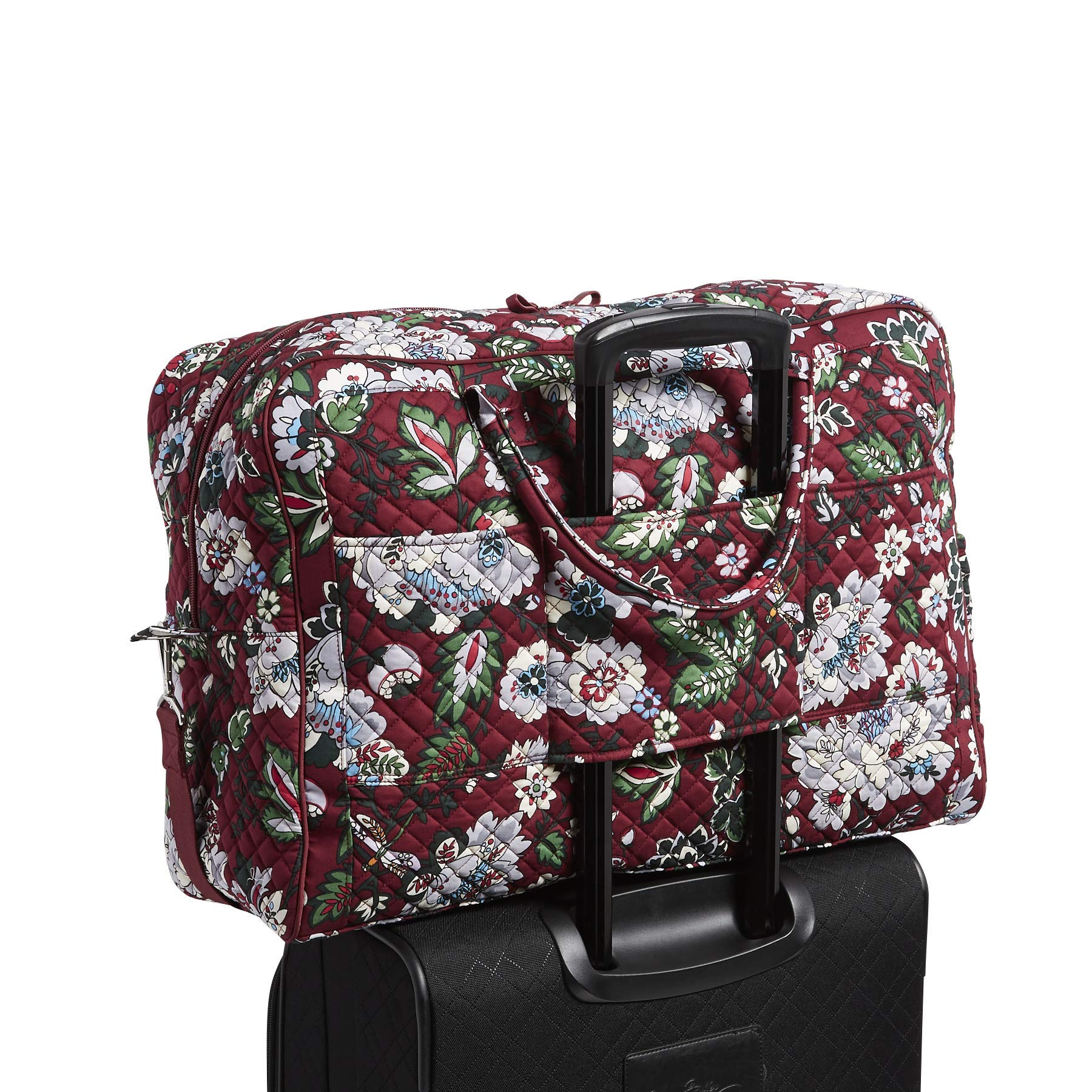 Vera Bradley Iconic Grand Weekender Travel Bag, Signature Cotton, bordeaux blooms by Vera Bradley (Image #7)