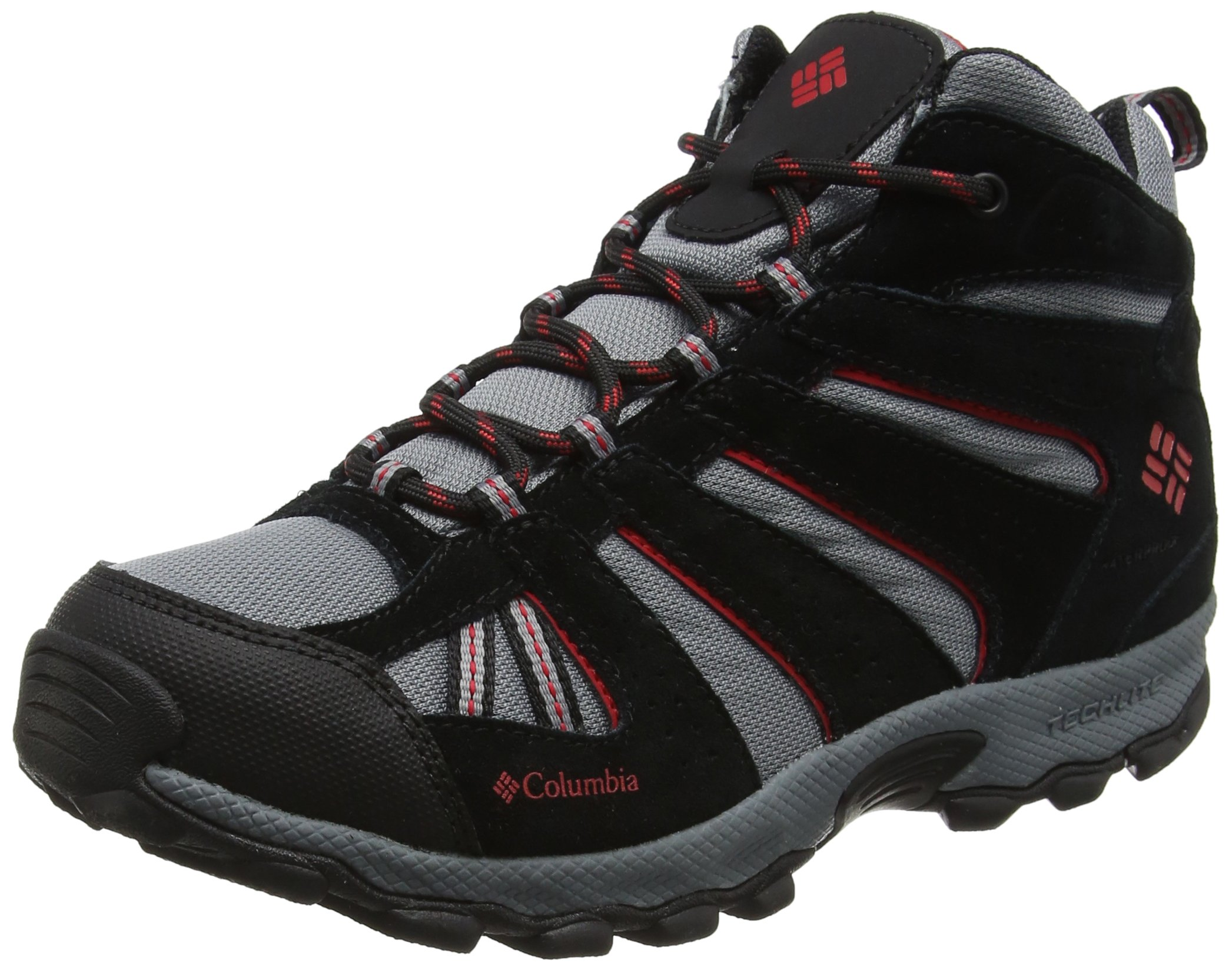 Columbia Youth North Plains MID Waterproof Hiking Boot, Grey Ash/Mountain Red, 2 M US Big Kid
