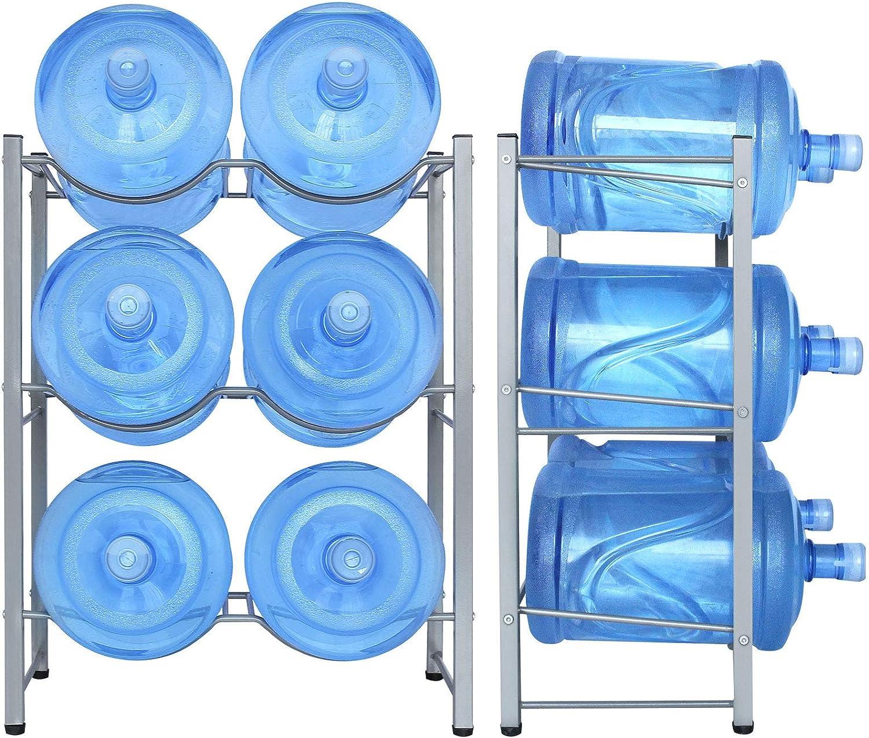 6-Tray Water Jug Rack, Storage 5 Gallon Water Cooler Bottle Holder Stand, 3-Tier Heavy Duty Carbon Steel 5 Gal Water Bottle Organizer for Home, Office, Kitchen, Warehouse, Dark Silver