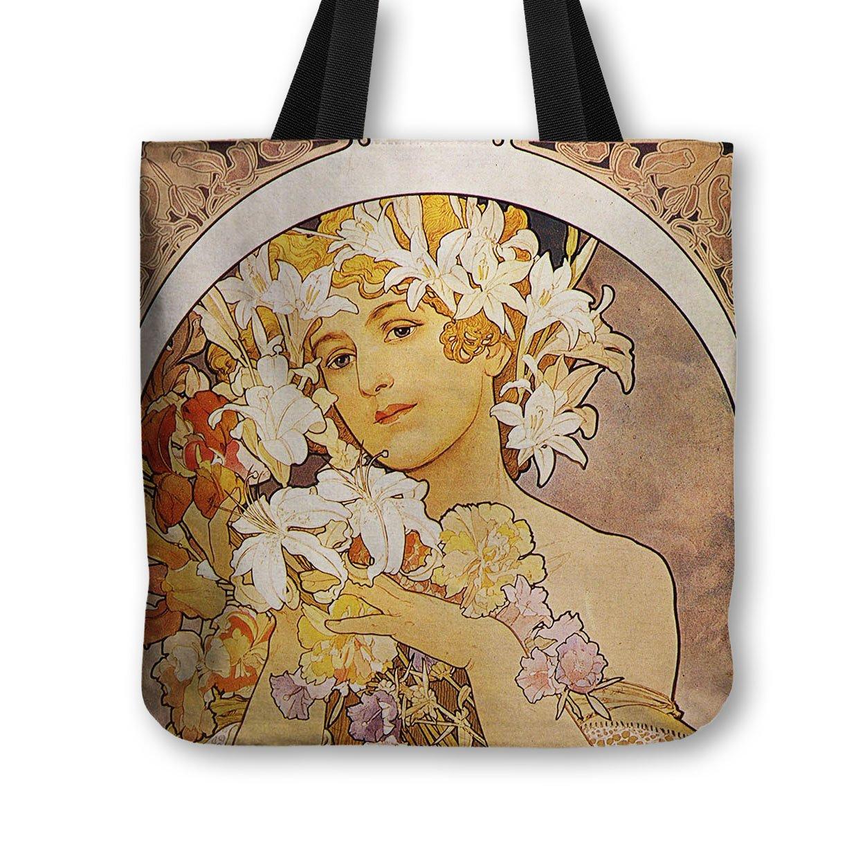Bolsa de tela para niña bolso de mano Alphonse Mucha - gramaje de algodón de gran calidad - para el hombro, bolsa de la compra, diseño de playa, School, ...