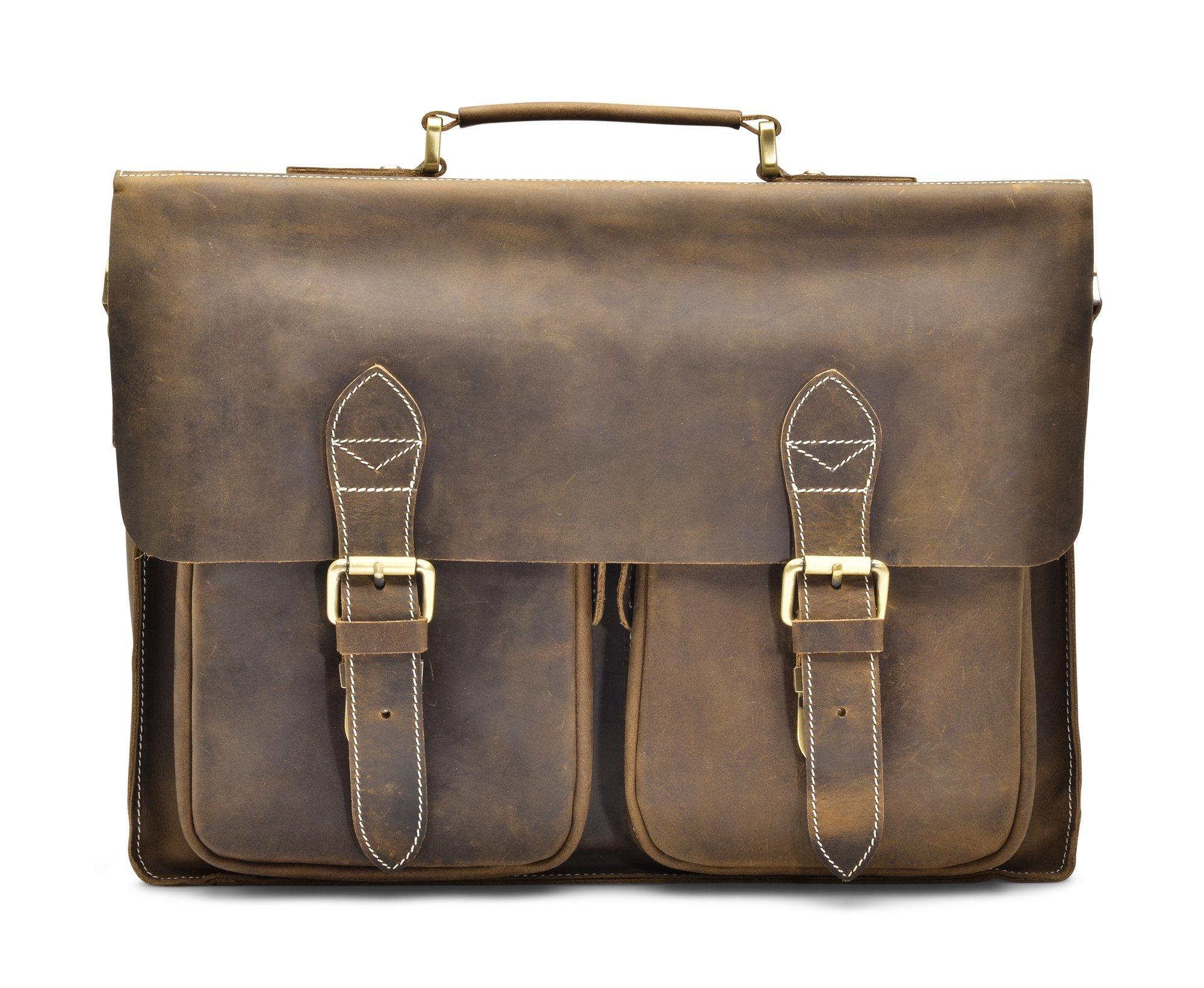 Hølssen Satchel Briefcase Messenger 16'' Laptop Genuine Leather Bag