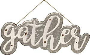 CWI Gifts Galvanized Gather Wall Sign with Jute Rope Hanger, Multi