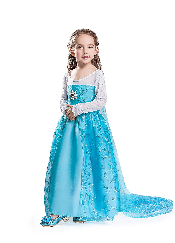 ELSA & ANNA® Princesa Disfraz Traje Parte Las Niñas Vestido ES-DRESS302-SEP (5-6 Años, ES-SEP302)
