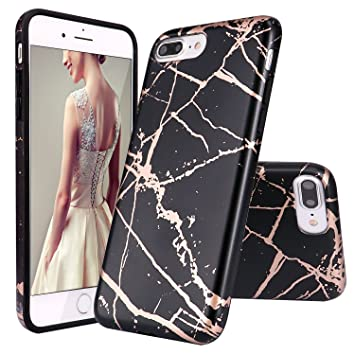 reputable site 92454 16258 DOUJIAZ iPhone 7 Plus Case,iPhone 8 Plus Case, Black Shiny Rose Gold Marble  Design Clear Bumper TPU Soft Case Rubber Silicone Skin Cover for iPhone 7  ...