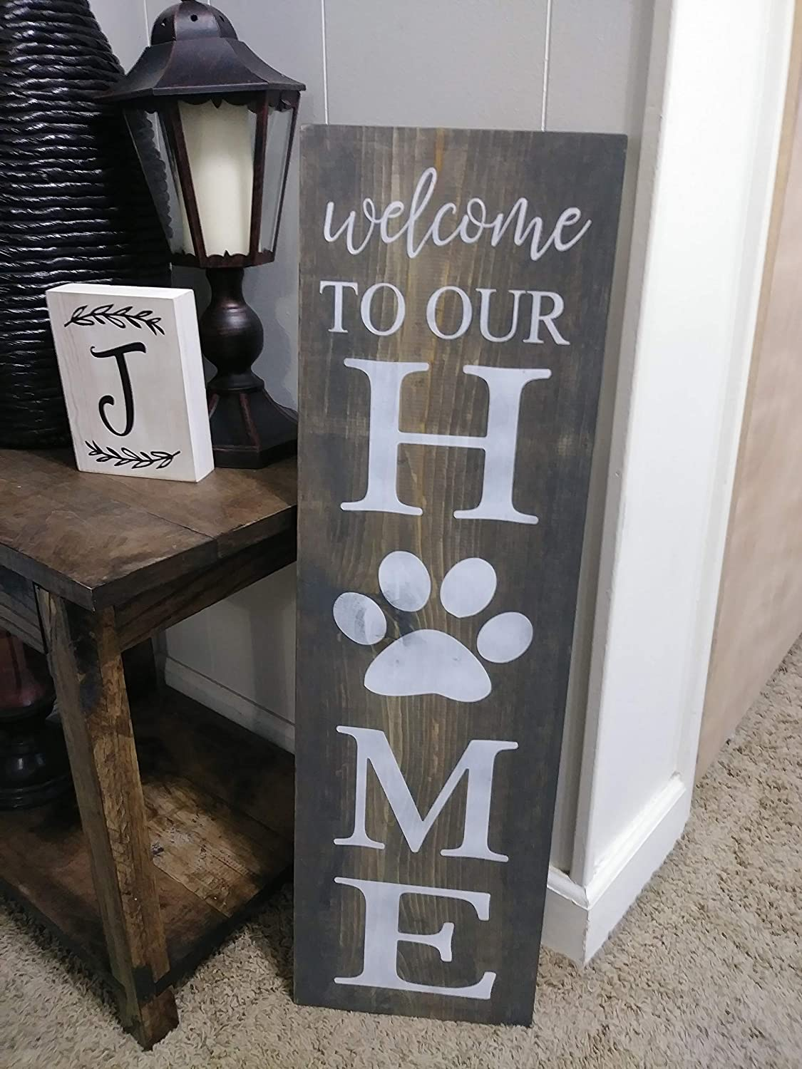 Welcome To Our Home Wood Sign Dog Quote Sign Wood Dog Sign Welcome Sign With Pawprint