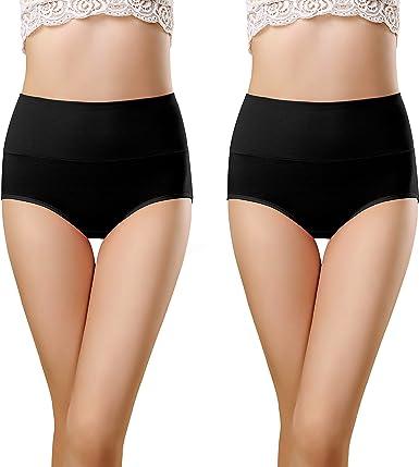 VICHERIA - Bragas de cintura alta para mujer, de algodón, suave, transpirable, de cobertura completa, paquete múltiple - Negro - Large: Amazon.es: Ropa y accesorios
