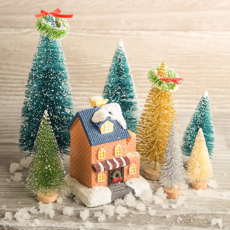 TUPARKA 36 Piezas de árbol de Navidad en Miniatura Botella Cepillo árboles Mini sisal Nieve Helada Árboles de Navidad con guirnaldas de Navidad para la ...