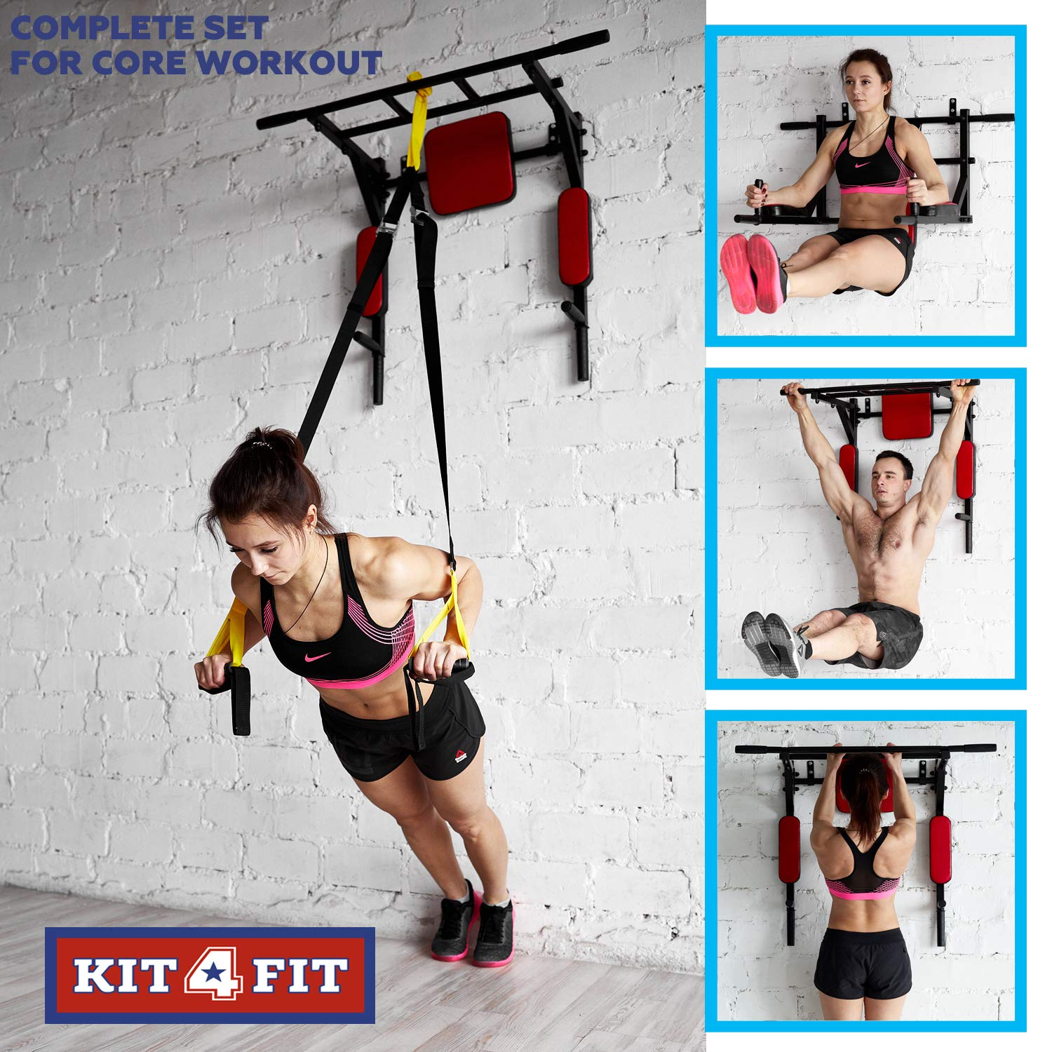 Wall Mounted Pull Up Bar and Dip Station with Vertical Knee Raise Station Indoor Home Exercise Equipment for Men Woman and Kids Great for Workout and Fitness (Red) by Kit4Fit (Image #6)